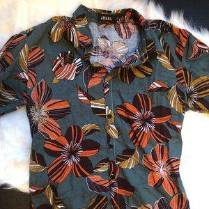 JOGAL Men's Cotton Button Down Short Sleeve Hawaii